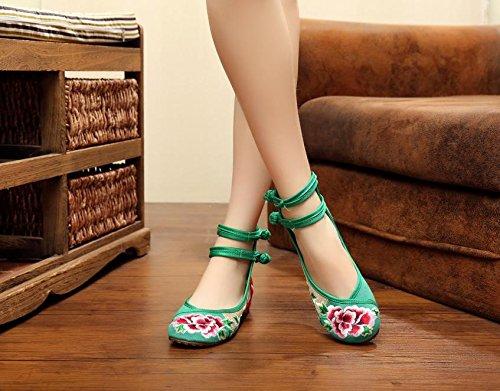 singole femminili ricamate di biancheria Scarpe unico ricamati pattini green cinghia doppia tendine scarpe stile scarpe donna etnico Ballerine Scarpe comodo moda Chnuo WaCqPEE