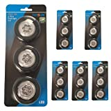 NASUN (3-Pack 6Sets) LED Puck Light, Wireless Battery-Operated Puck Light, 6-LED Closets Cabinets Light, Push Light Stick-on Anywhere for Kitchen, Storage Room, Hallway, Bedroom, Bookshelf (Black)