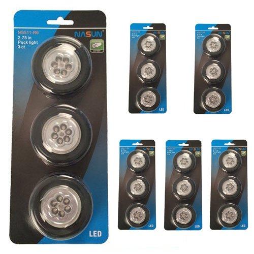 NASUN (3-Pack 6Sets) LED Puck Light, Wireless Battery-Operated Puck Light, 6-LED Closets Cabinets Light, Push Light Stick-on Anywhere for Kitchen, Storage Room, Hallway, Bedroom, Bookshelf (Black)