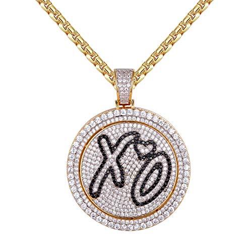 Master Of Bling Men's XO Love Heart Spinner 14k Gold Tone Circle Hugs Kisses Pendant Choice Necklace (Metal)