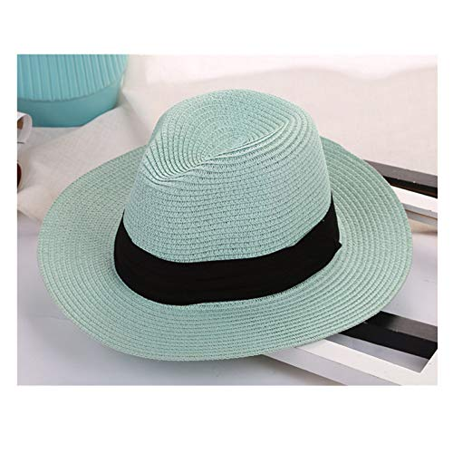 CGXBZA Women Panama Straw Sunhat with Ribbon Trim Summer Wide Large Brim Cap Vintage Beach Hats Uv Protection