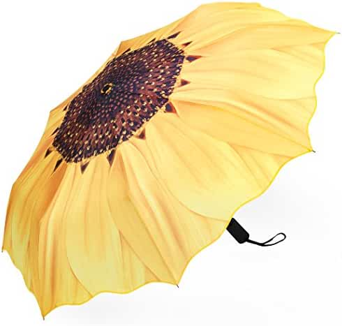 Plemo Automatic Umbrellas, Windproof Sunflower Design Compact Folding Umbrellas with Anti-Slip Rubberized Grip, for Business and Travels or Summer Wedding Gifts