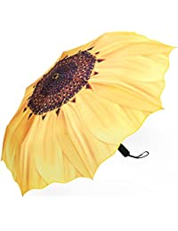 Automatic Umbrellas, Windproof Sunflower Design Compact Folding Umbrellas with Anti-Slip Rubberized Grip, for Business and Travels or Summer Wedding Gifts