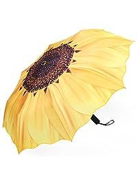 Sunflower Umbrella, PLEMO Automatic Folding Travel Umbrella Auto Open and Close for Men and Women, Yellow