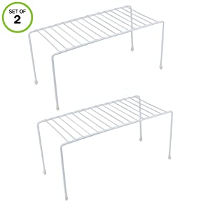 Evelots Kitchen Shelves, Cabinet Organization Mini Storage Shelf, White,Set of 2