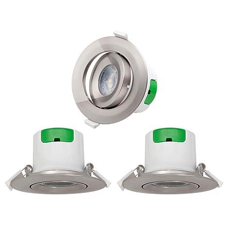Lamparas Plafones Focos Downlight Empotrables en Techo de LED Giratorio Plástico Níquel 7W Luz Fria 5000K