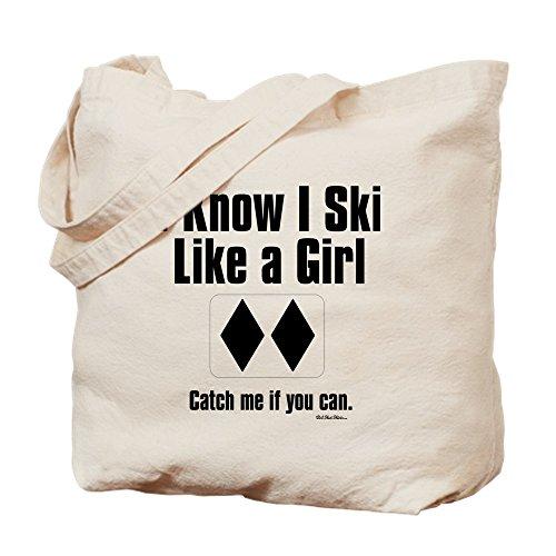 CafePress Ski Like A Girl Natural Canvas Tote Bag, Cloth Shopping -