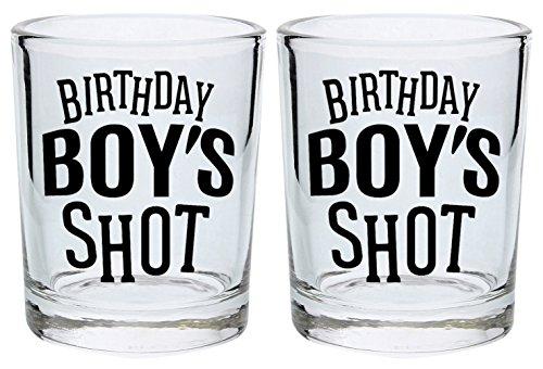 Birthday Shot Glass for Men Birthday Boy 21st 30th 40th Birthday Gift Shot Glasses 2-Pack Round Shot Glass Set Black