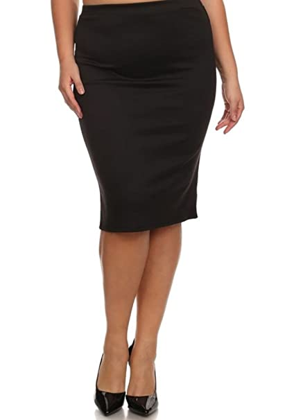 b40c61dc67d Women s Plus Size Pencil Skirt Pattern and Solid Slim Fit Stretch Elastic  Waist (1X