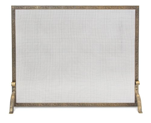 (Pilgrim Home and Hearth 18254 Bay Branch Embossed Single Panel Fireplace Screen, Antique Brass, 39″W x 31.5″H, 22 lbs,)