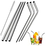 Stainless Steel Straws , Reusable Metal Drinking Straws for 30Oz 20 Oz Yeti Tumbler Rambler Cups(3 Straight+3Bent+1Brushes)