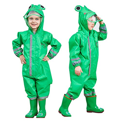 SSAWcasa One Piece Rain Suit Kids,Unisex Toddler Waterproof Rainsuit Rain Coat Coverall (M, Green Frog)
