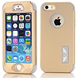 iPhone 5S/SE Case, MCUK [Full-Body] [Heavy Duty] [Shock Resistant] [Armor Series] 3 in 1 High Impact Soft TPU Hard PC Tough Rugged Combo Defender Cover Case for Apple iPhone 5S/SE (Gold-Grey)