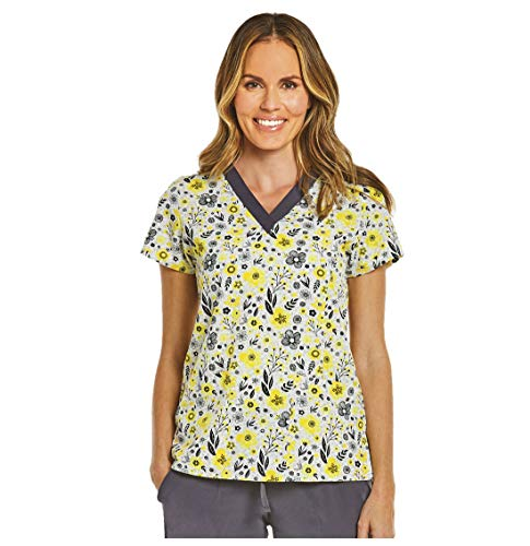 Maevn Field of Flowers Floral Printed Curved V-Neck Scrub Top (Small, Field of Flowers)]()