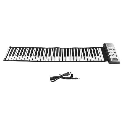 61 Teclas 128 Tonos Roll Up Teclado de Piano Electrónico Teclado Digital Portátil Piano Instrumento Musical