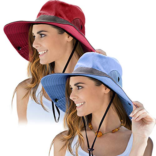 2 Pieces Women's Outdoor Sun Hat UV Protection Foldable Mesh Wide Brim Beach Fishing Cap (Red, Blue) ()