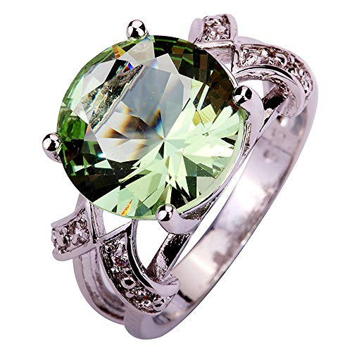 PAKULA Silver Plated Women Simulated Green Amethyst Ring