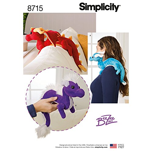 Simplicity Creative Patterns US8715OS Pattern 8715 Stuffed Dragons Crafts