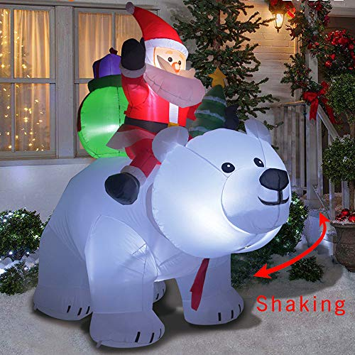 6 Foot Christmas Inflatables Santa on Bear, Airblown Inflatable Bear with Santa and Gifts, Lighted for Home Outdoor Yard Lawn Decoration