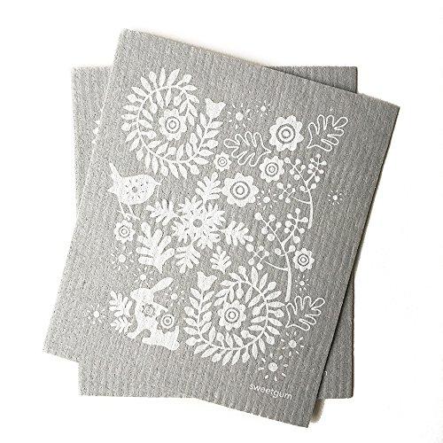sweetgum Swedish Dishcloth, Small White Bunny, Eco-Friendly, Set of 2, Gray/White