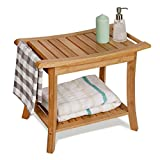 WELLAND Bamboo Shower Bench with Storage Shelf, Large Size 23.5-Inch x 13-Inch x 18-Inch