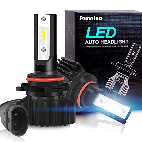 Sampino 9005/H10/HB3 LED Headlight Bulbs All-in-One Conversion Kit 2Packs (DOT Approved) High Beam/Fog Light Bulb(9140/9145/9040/9045) 8000LM 5500K 12xCSP Chips Cool White