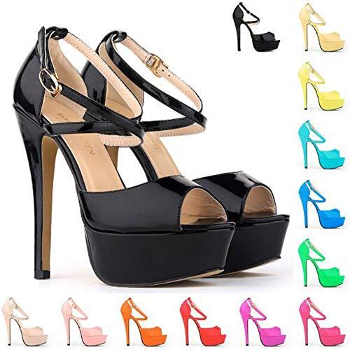 Fibbia Fibbia Comodo Punta Black Fantasia Toe Vestito High 10cm 10cm Heels con Peep Tacco a Elobaby Donne nZw8XPBwf