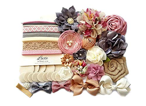 Vintage Floral Burlap DIY Headband Kit - Mauve, Charcoal, Ivory, Tan - Makes 16 Headbands and 1 Clip! - Bridal Shower Headband Station - DIY Craft Kit - Party Supplies - Wedding Party