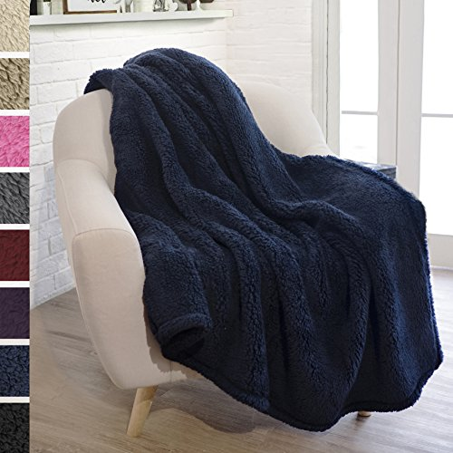 PAVILIA Plush Sherpa Throw Blanket for Couch Sofa   Fluffy Microfiber Fleece Throw   Soft, Fuzzy, Cozy, Lightweight   Solid Navy Blue Blanket   50 x 60 Inches
