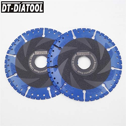 1 lot DT-DIATOOL 2pcs 5 Vacuum Brazed Diamond cutting Disc all Purpose saw blade 125mm Rescue Diamond Blade 125mm for Glass Cast - Iron Cast Kinetic