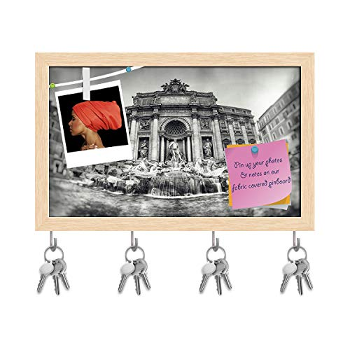 Artzfolio Trevi Fountain Rome, Italy D2 Key Holder Hooks | Notice Pin Board | Natural Brown Frame 19.4 X 12Inch
