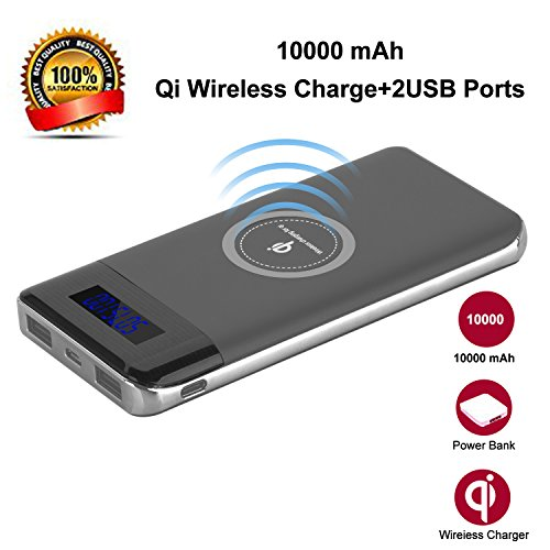 Wireless Charger Power Bank, YGIVO 10000Mah 3 in 1 Qi Power Bank and Qi Wireless Portable Charger for iPhone x/8/8 Plus,Samsung Galaxy S6/7/8 and More (Gray)