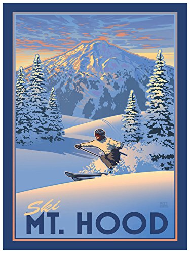 Ski Mount Hood Oregon Travel Art Print Poster by Paul Leighton (18
