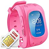 Hangang GPS Tracker for Children, Waterproof Smartwatch Anti-Roaming SOS Calling Child Finder Real Time Tracking, Compatible with Smartphones red