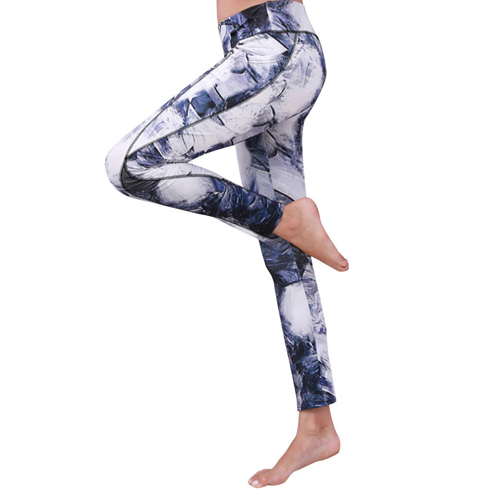 YUAN Frauen Sport Gym Yoga Workout Mid Taille Laufen Hosen Fitness Elastische Leggings
