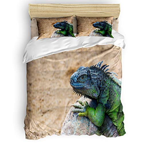 Twin Bed Lizard Little (YEHO Art Gallery 4 Piece Comfortable Duvet Cover Set Soft Bed Sheet Set Home Decor,Green Lizard Animal Pattern Bedding Sets,1 Flat Sheet 1 Duvet Cover and 2 Pillow Cases Twin Size)