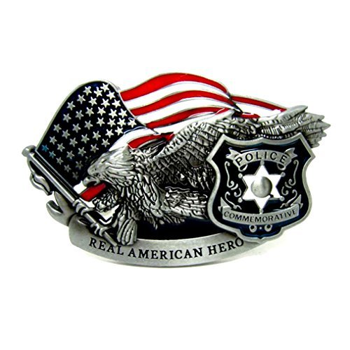 MASOP American Hero Eagle USA Flag Shield Police Badge Belt Buckle Metal ()