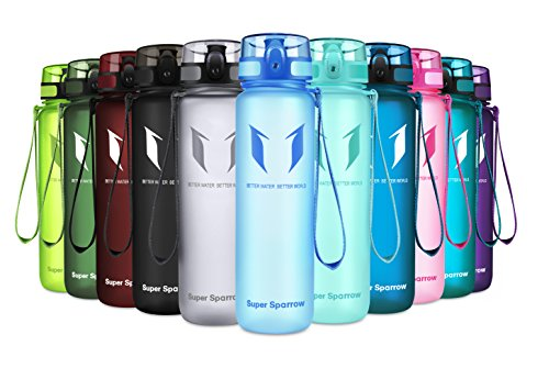 Super Sparrow Sports Water Bottle – Eco Friendly & BPA-Free Plastic – Fast Water Flow, Flip Top, Opens with 1-Click – Reusable with Leak-Proof Lid (Blue, 350ml-12oz)
