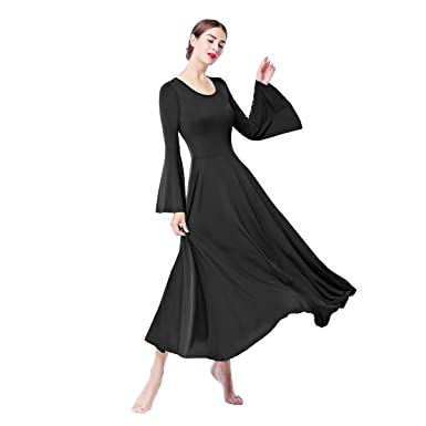eb9232abac59 Women Bell Liturgical Praise Dance Dress Long Sleeve Loose Fit Full Length  Church Worship Swing Gown