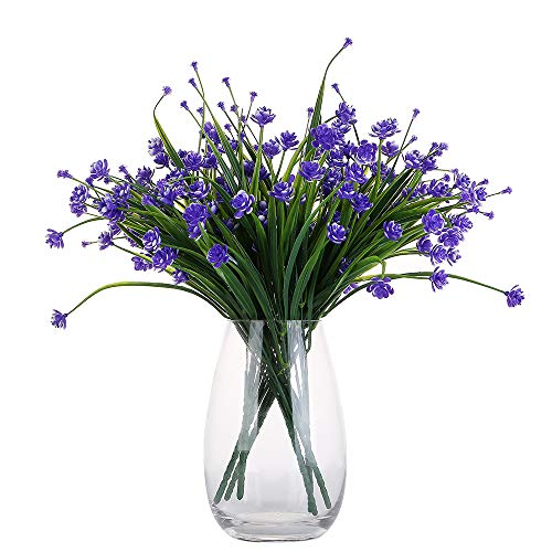 Only Angel Artificial Flowers Bouquet Fake Daffodils Greenery Shrubs Bushes Table Office Decor Home Indoor-6 Pack Purple