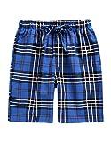 TINFL Boys Soft Cotton Plaid Check Sleep Lounge Shorts BSP-SB009-Blue L
