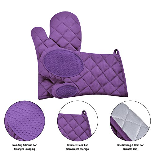 VEEYOO Cotton Oven Mitts Pot Holders Set - Kitchen Silicone Oven Mitt Heat Resistant, Non-slip Grip Oven Gloves Potholder 3 Packs Cooking, Baking & BBQ, Purple by VEEYOO (Image #2)