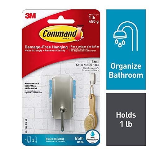 Command 076308728588 Bath, Satin Nickel, 1-Hook, 2-Small Water-Resistant Strips (BATH33-SN-ES), Satin Nickel