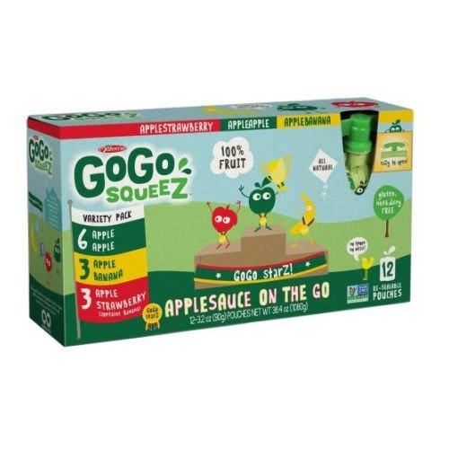 GoGo SqueeZ Variety Pack On the Go Apple Sauce, 3.2 Ounce - 72 per case.