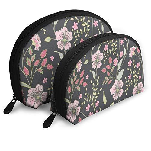 Makeup Bag Nature Daisy Flowers (2) Portable Half Moon Travel Bags Organizer For Women (Pen Daisy Beaded)