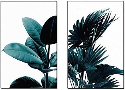 TOOGOO 2pcs Set Plante Verte Creative Toile Impression dart Affiche Murale Photos de Mur Peinture dart Murale pour Chambre Salon Decoration de Maison Cadre Non Inclus 21cm*30cm