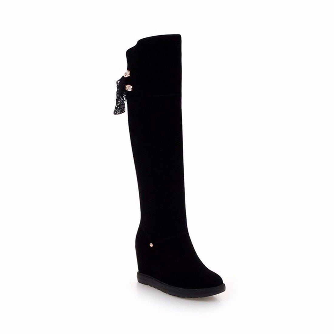 Herbst und Winter in Damens's high-heeled Stiefel Stiefel Knie ribbon erhöht