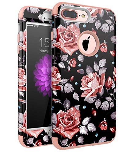 XIQI iPhone 7 Plus Case Flower Three Layer Heavy Duty Shockproof Cute Girls Woman Anti-Scratch Protective Case Cover for iPhone 7 Plus 5.5 inch,Rose Gold Roses