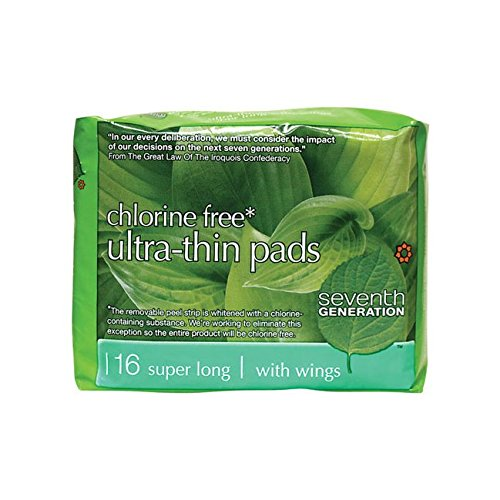 Seventh Generation Ultrathin Pads, Super Long, 16 ct