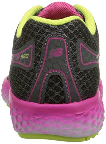 888098070194 - New Balance KJ980 Fresh Foam Running Shoe (Little Kid/Big Kid), Grey/Pink, 4 M US Big Kid carousel main 1